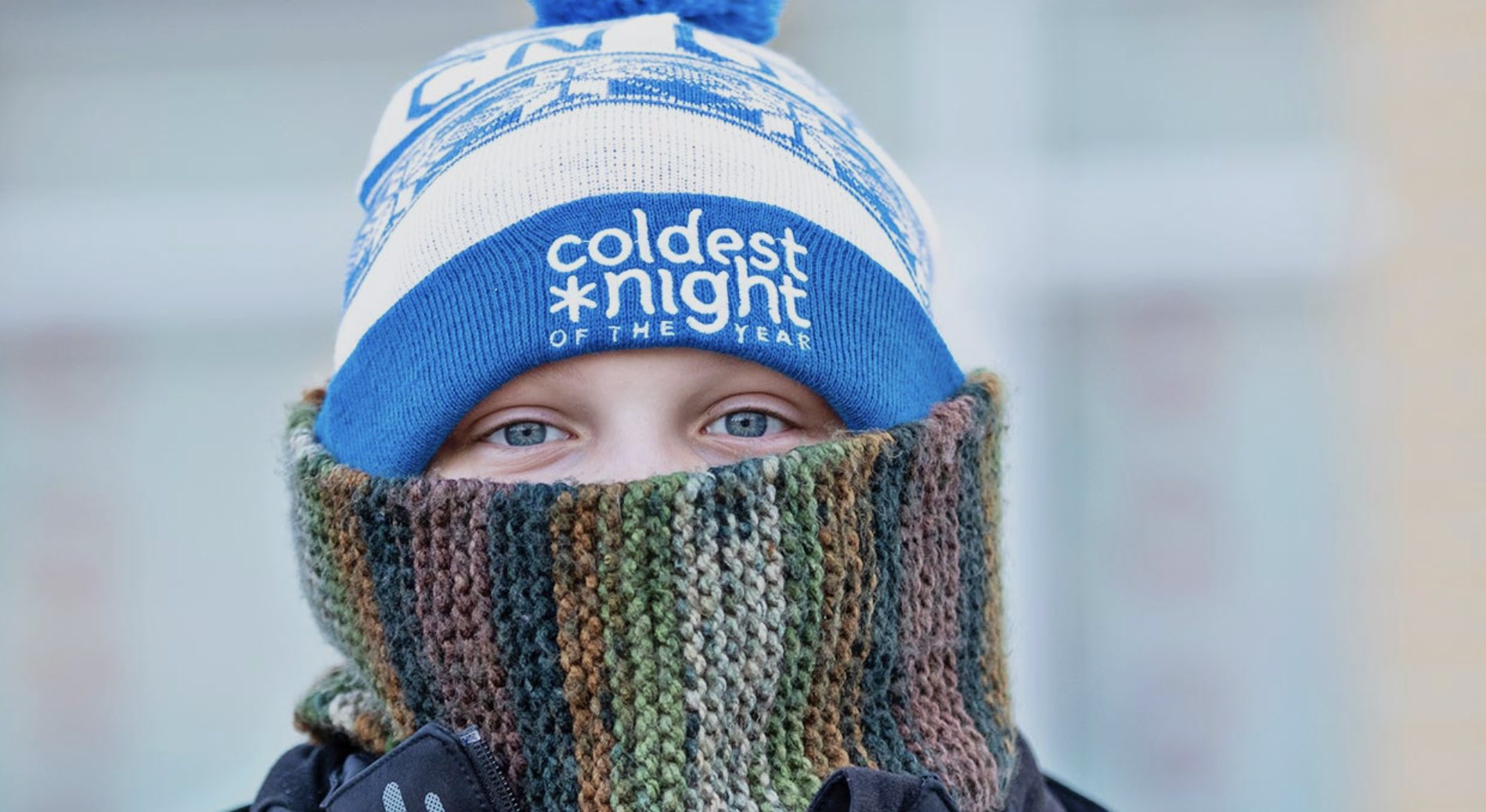 The Lighthouse Orillia is gearing up for the Coldest Night of the Year fundraiser, with a young boy dressed in hat and scarf getting ready to go outside