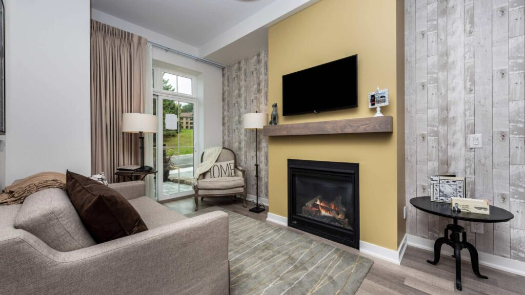 One bedroom Suite-Living-Room-Copeland House Horseshoe resort room with fireplace